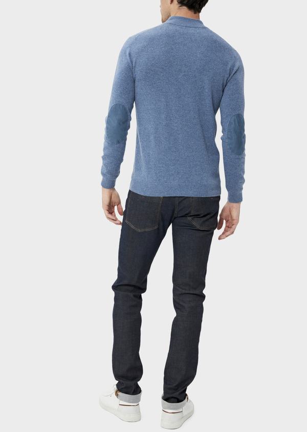 Pull en cachemire col montant boutonné uni bleu chambray - Father and Sons 35465