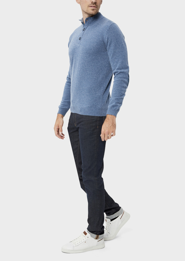 Pull en cachemire col montant boutonné uni bleu chambray - Father and Sons 35464
