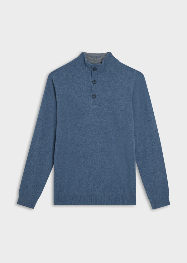 Pull en cachemire col montant boutonné uni bleu chambray - Father and Sons 35462