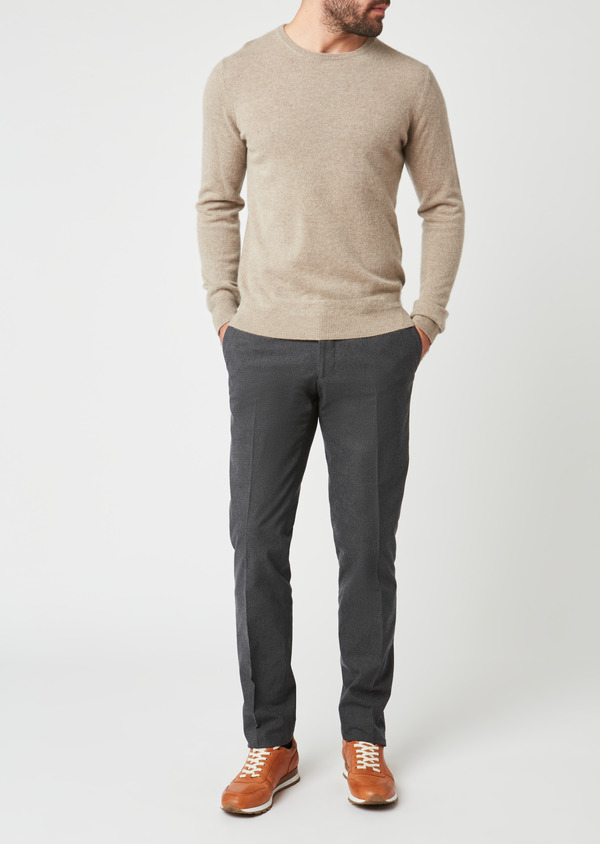 Pull en cachemire col rond uni beige - Father and Sons 28151
