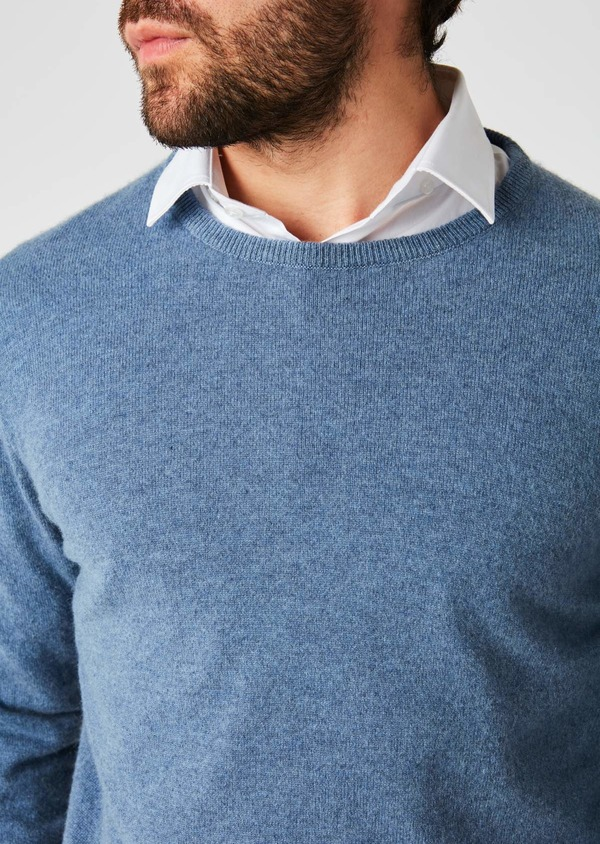 Pull en cachemire col rond uni bleu - Father and Sons 27102