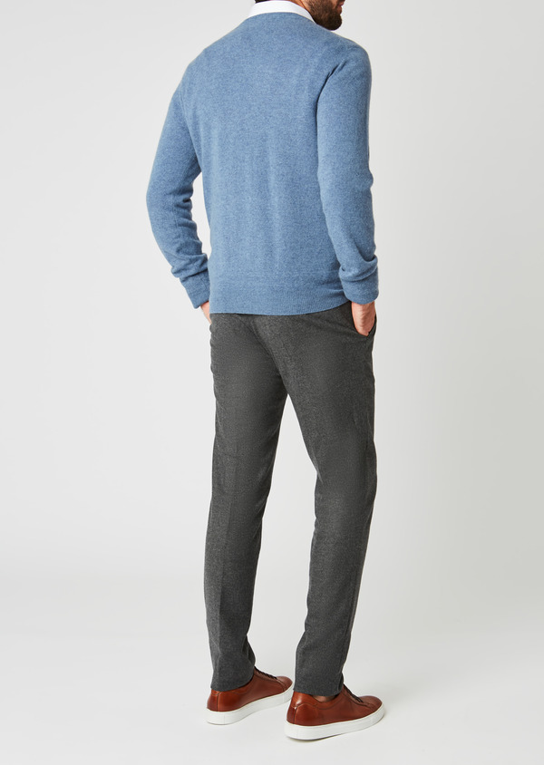 Pull en cachemire col rond uni bleu - Father and Sons 27101