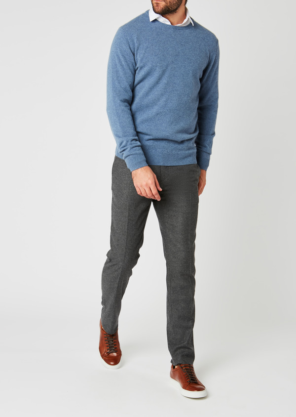 Pull en cachemire col rond uni bleu - Father and Sons 27100
