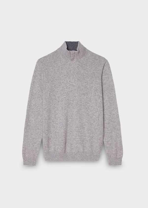 forme élégante dernière conception meilleurs prix Pull en cachemire col montant zippé uni gris