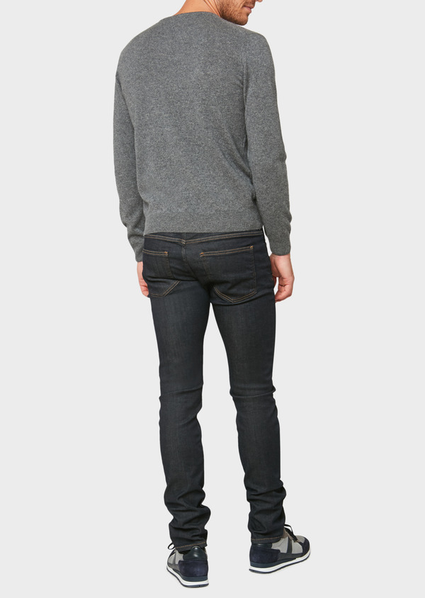 Pull en cachemire col V uni gris - Father and Sons 31820