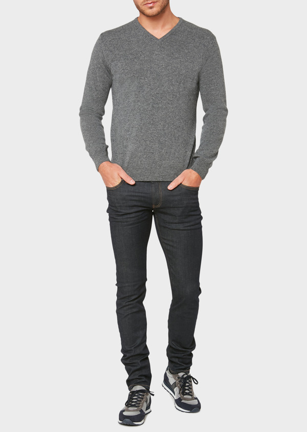 Pull en cachemire col V uni gris - Father and Sons 31819
