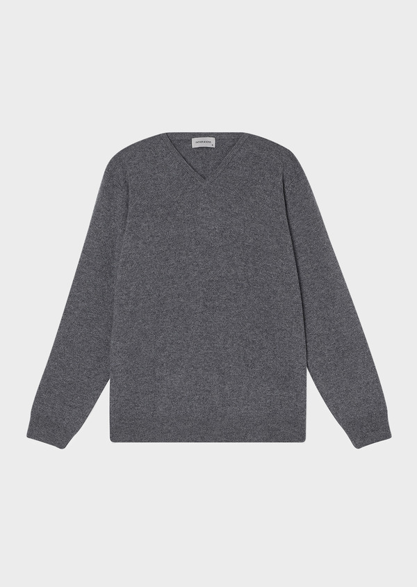 Pull en cachemire col V uni gris - Father and Sons 31817