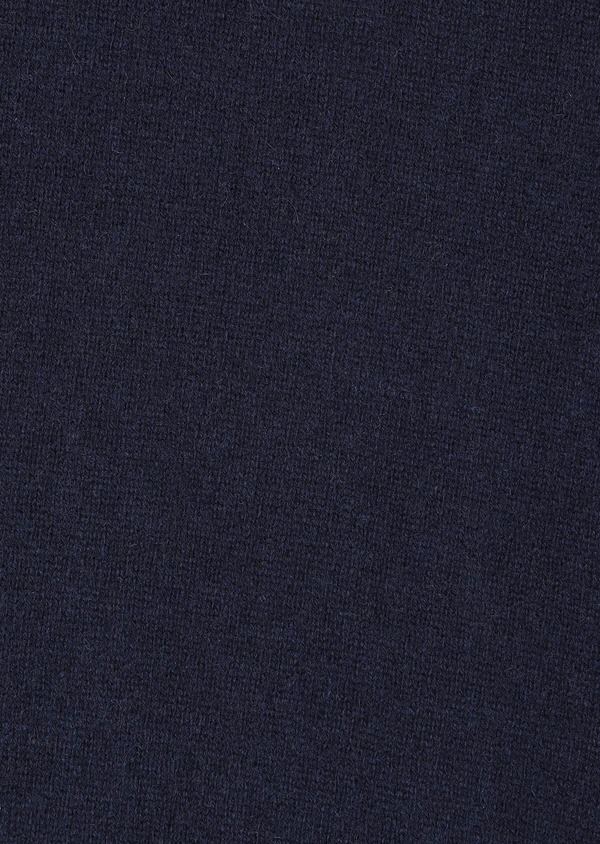 Pull en cachemire col V uni bleu marine - Father and Sons 31854