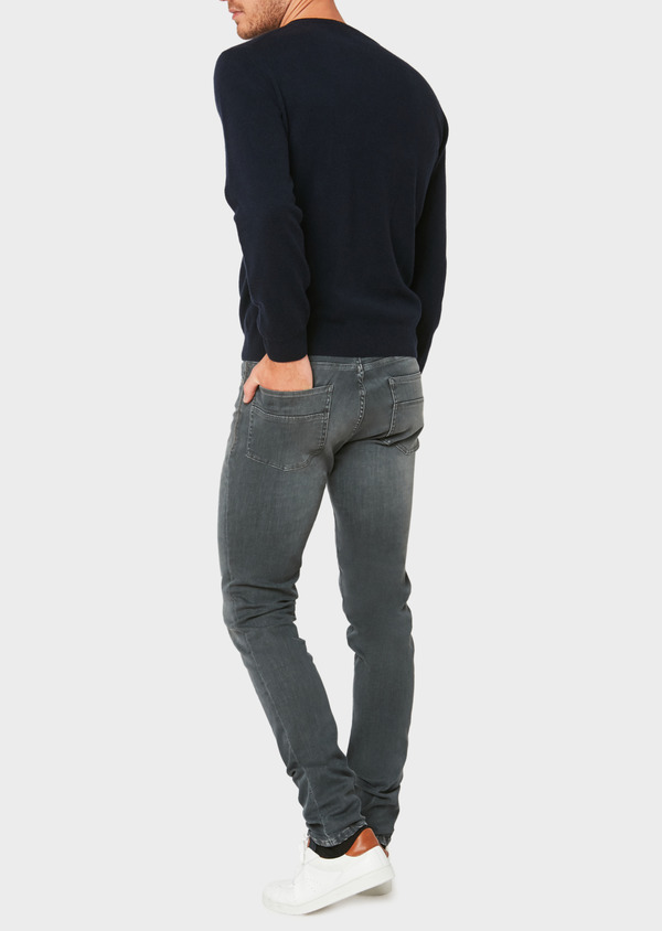 Pull en cachemire col V uni bleu marine - Father and Sons 31856
