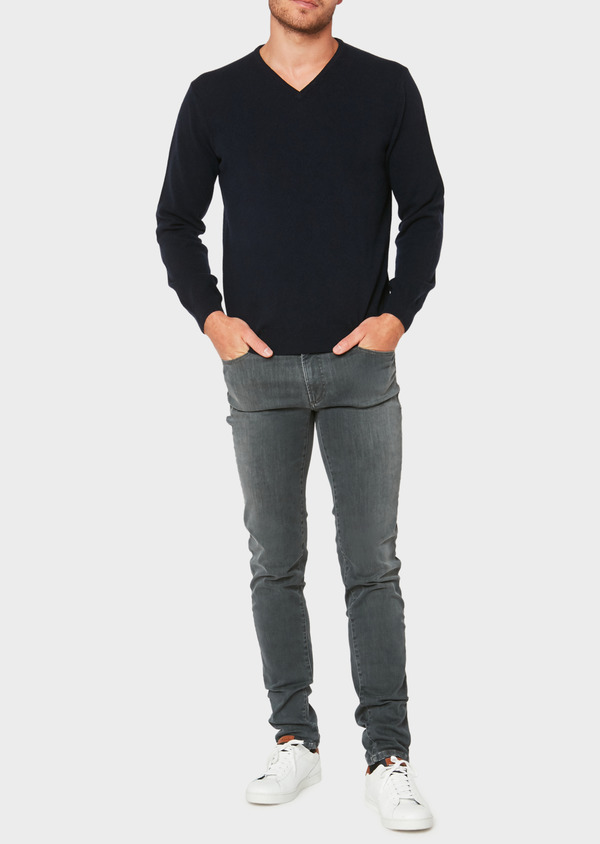 Pull en cachemire col V uni bleu marine - Father and Sons 31855