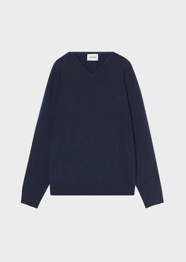 Pull en cachemire col V uni bleu marine - Father and Sons 31853