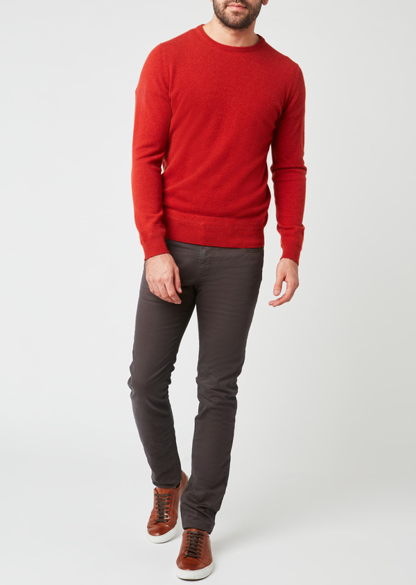 Pull en cachemire col rond uni orange - Father and Sons 28157