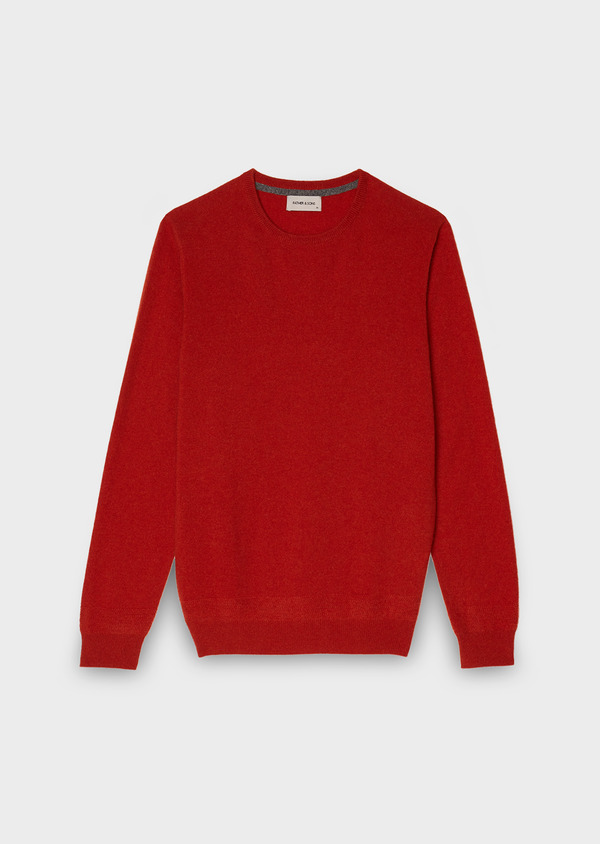 Pull en cachemire col rond uni orange - Father and Sons 28155