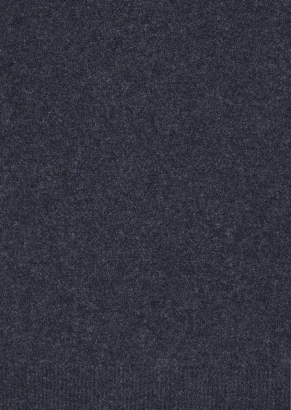 Pull en cachemire col montant zippé uni bleu foncé - Father and Sons 30992