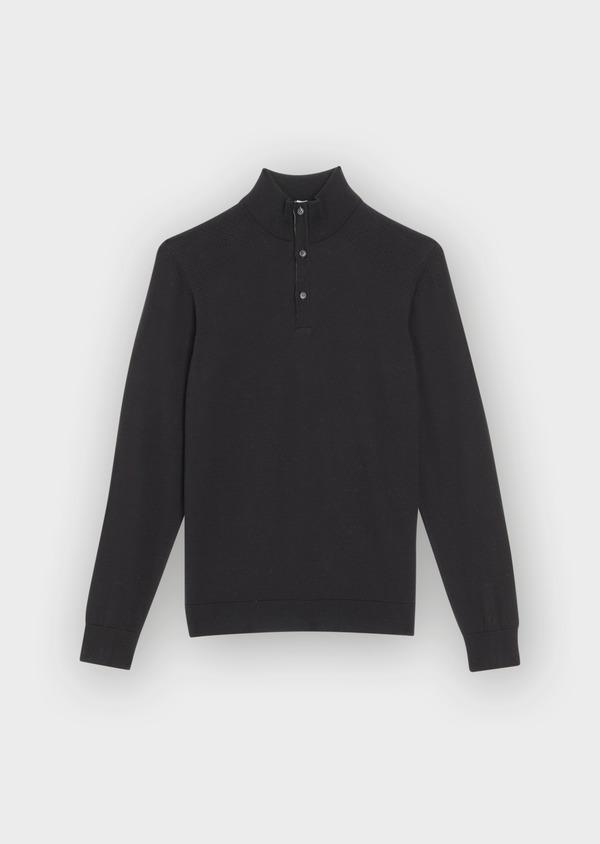Pull en coton mélangé col montant boutonné uni noir - Father and Sons 36811