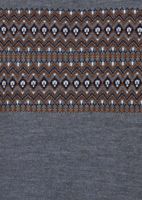 Pull en laine mélangée col rond gris à motifs géométriques - Father and Sons 36822