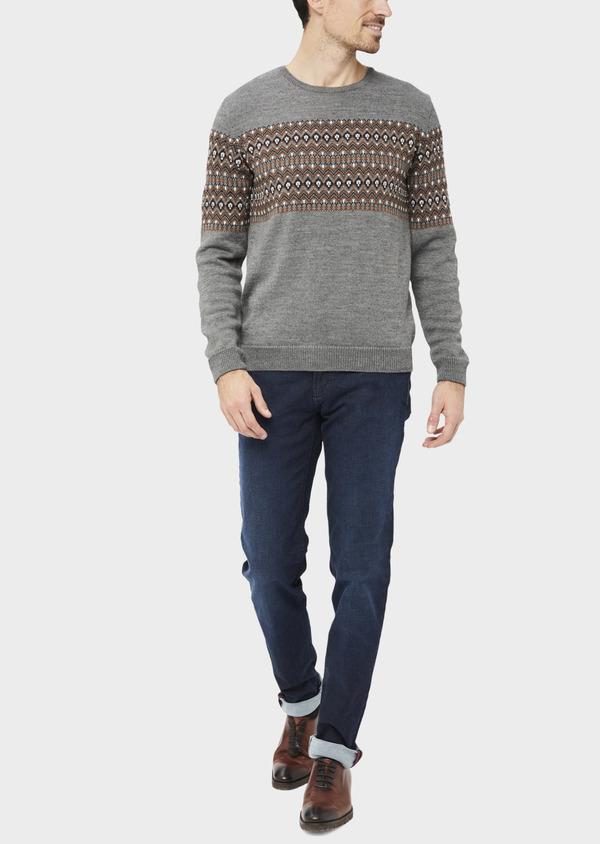 Pull en laine mélangée col rond gris à motifs géométriques - Father and Sons 36823