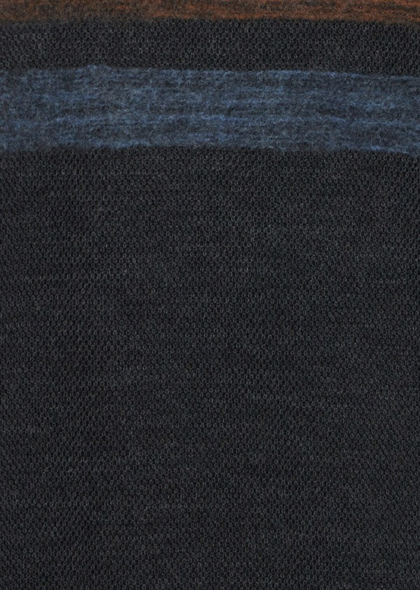 Pull en laine Mérinos mélangée col rond gris anthracite à rayures - Father and Sons 36197