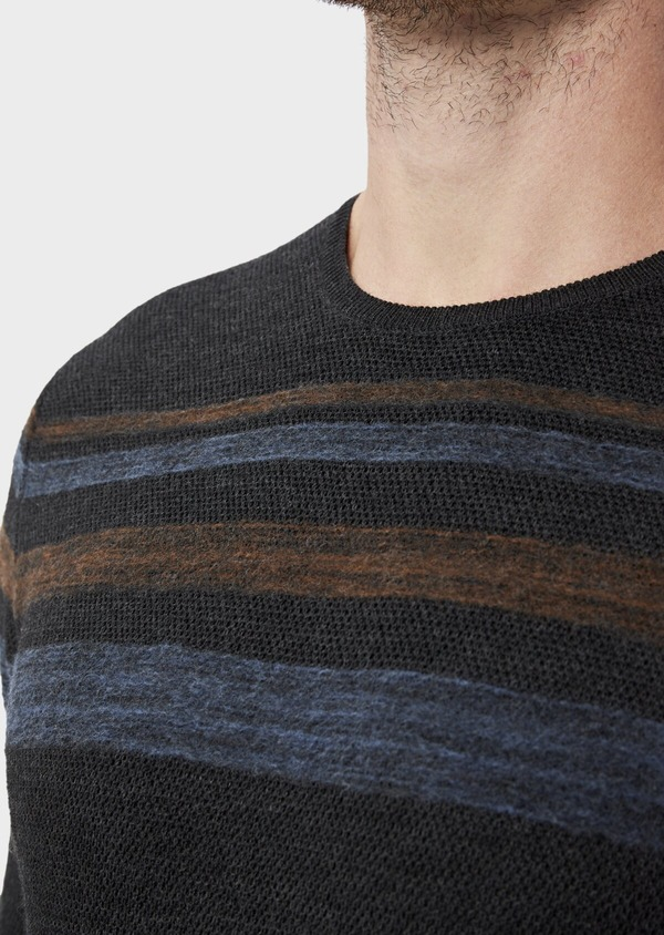 Pull en laine Mérinos mélangée col rond gris anthracite à rayures - Father and Sons 36200