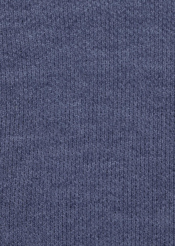 Pull en laine Mérinos mélangée col rond uni bleu chambray - Father and Sons 35409