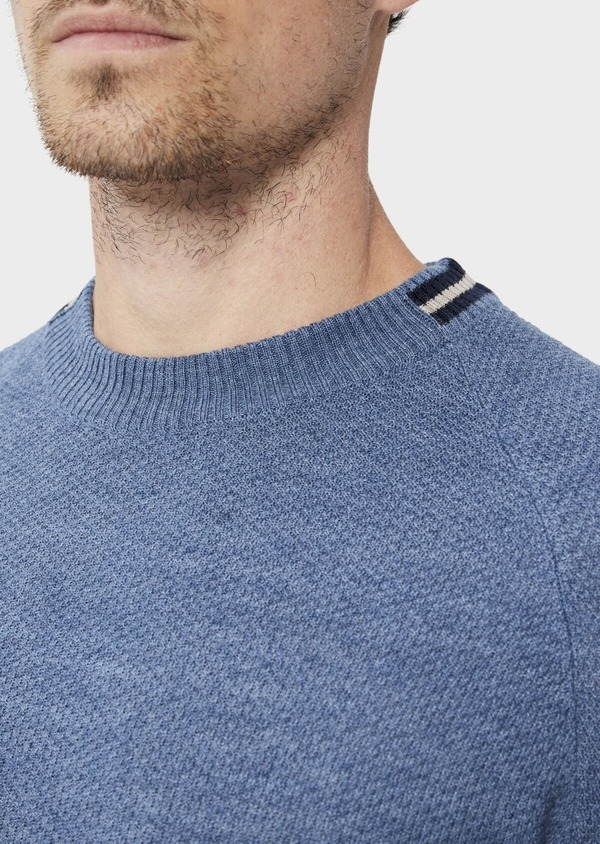 Pull en laine Mérinos mélangée col rond uni bleu chambray - Father and Sons 35412