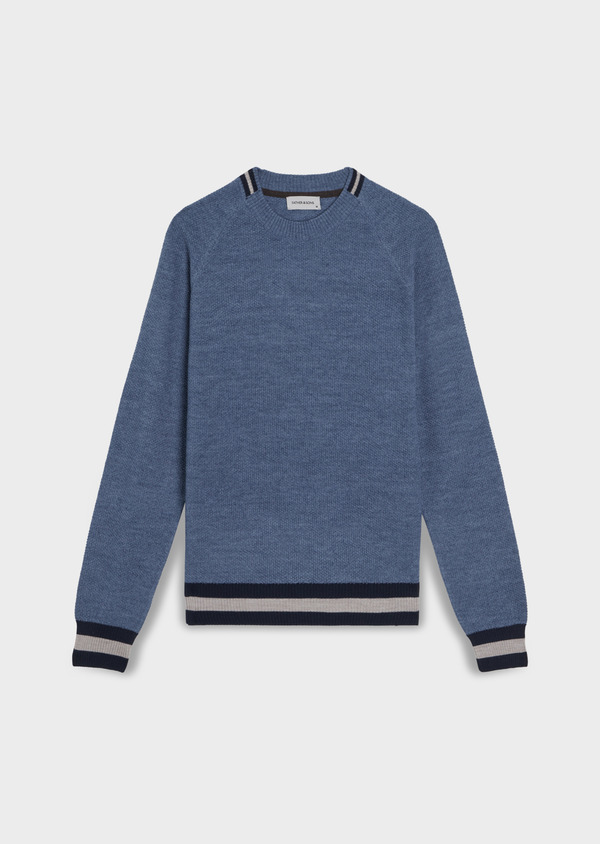 Pull en laine Mérinos mélangée col rond uni bleu chambray - Father and Sons 35408