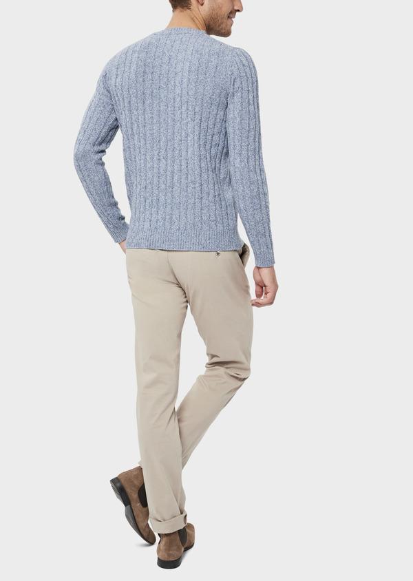 Pull en laine Mérinos mélangée col rond uni bleu chambray - Father and Sons 36184