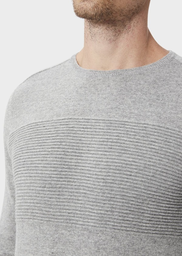 Pull en laine mélangée col rond uni gris clair - Father and Sons 35422