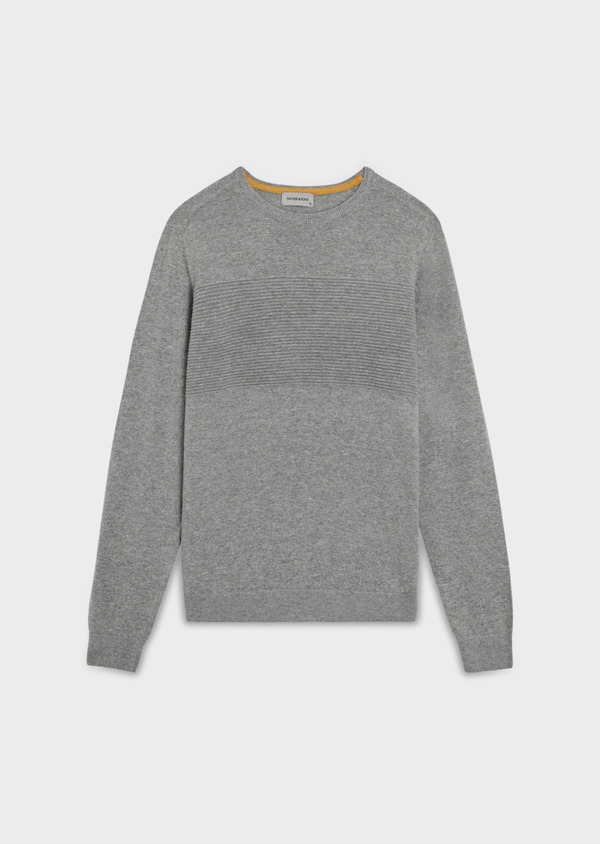 Pull en laine mélangée col rond uni gris clair - Father and Sons 35418