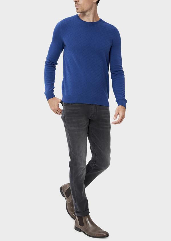 Pull en laine mélangée col rond bleu à rayures diagonales ton sur ton - Father and Sons 35415