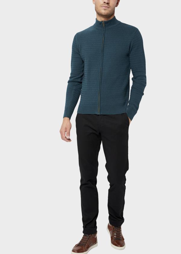 Gilet zippé en coton et cachemire uni bleu - Father and Sons 36179