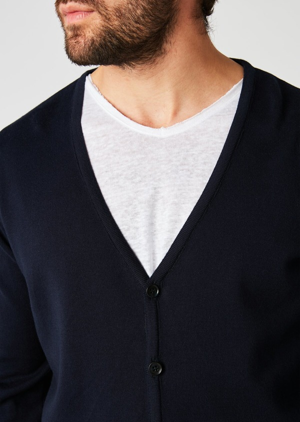 Cardigan en coton uni bleu marine - Father and Sons 20251