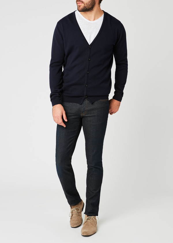 Cardigan en coton uni bleu marine - Father and Sons 20249