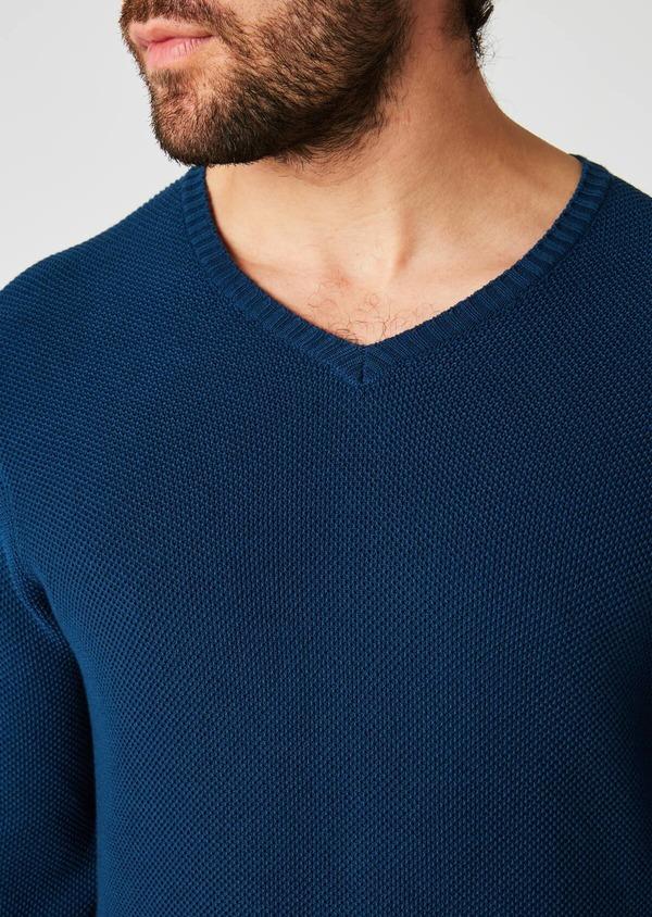 Pull en coton col V texturé bleu indigo - Father and Sons 20235