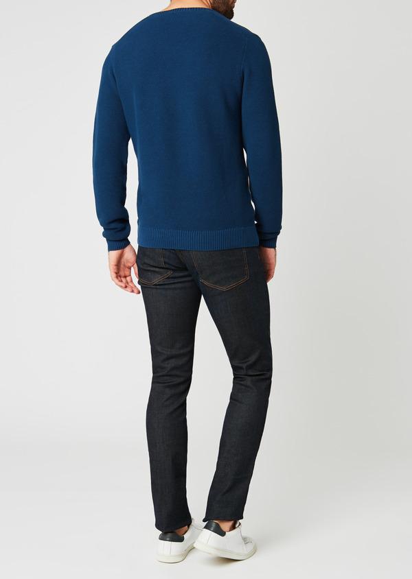Pull en coton col V texturé bleu indigo - Father and Sons 20234