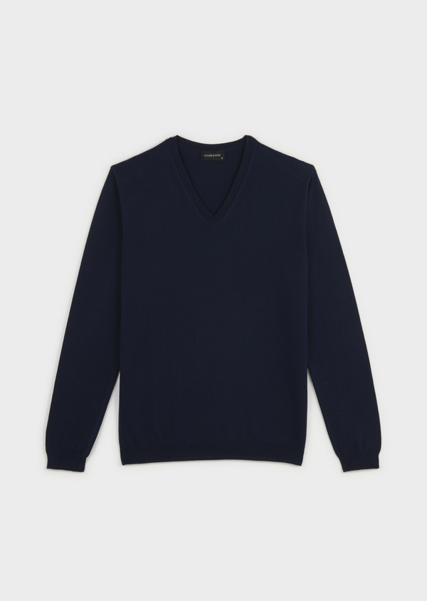 Pull en coton col V uni bleu marine - Father and Sons 20239