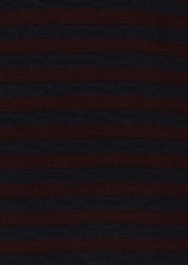 Pull en laine mérinos col rond rayé bordeaux et bleu - Father and Sons 27054