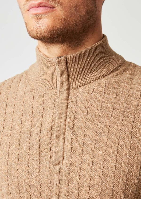 Pull en laine col montant zippé uni beige - Father and Sons 27036