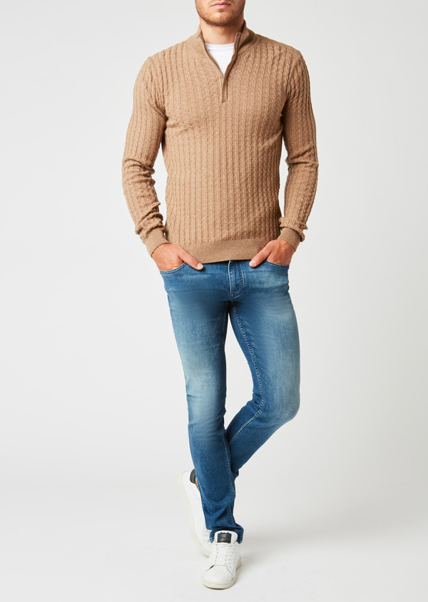 Pull en laine col montant zippé uni beige - Father and Sons 27034