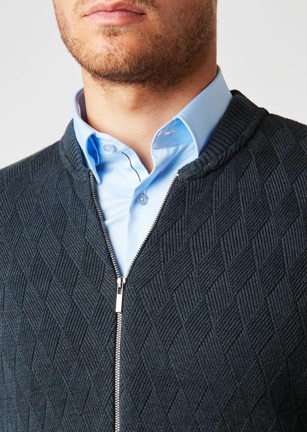 Cardigan en coton mélangé à fermeture zippée uni bleu - Father and Sons 27043