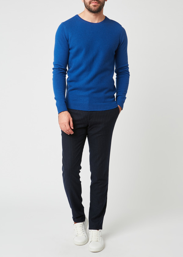 Pull en laine col rond bleu - Father and Sons 28110