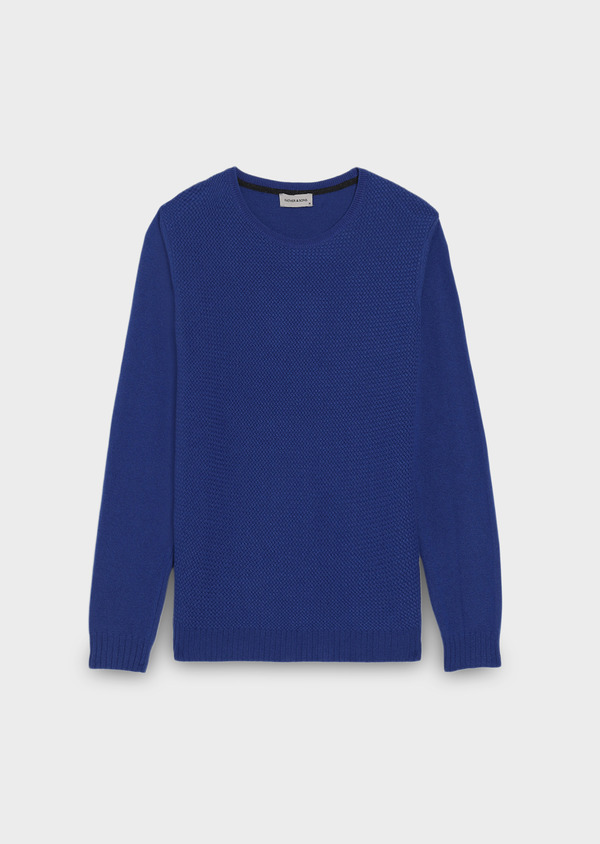 Pull en laine col rond bleu