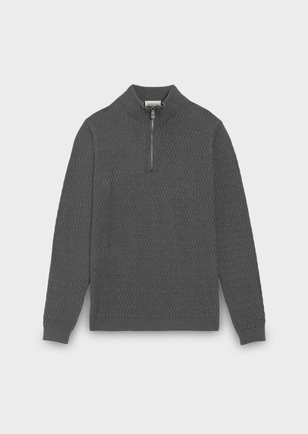 Pull en coton mélangé col montant zippé uni gris - Father and Sons 28090