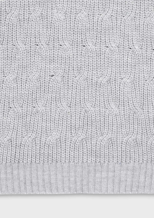 Pull en laine Mérinos col châle uni gris - Father and Sons 30818