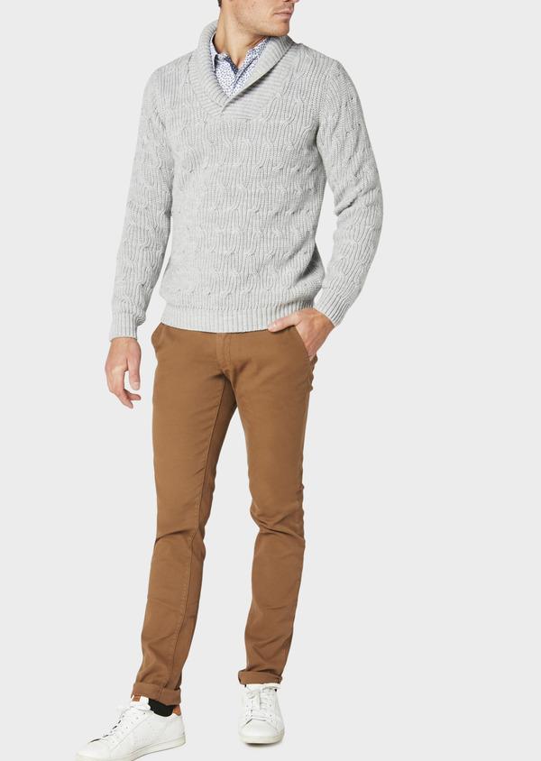 Pull en laine Mérinos col châle uni gris - Father and Sons 30819