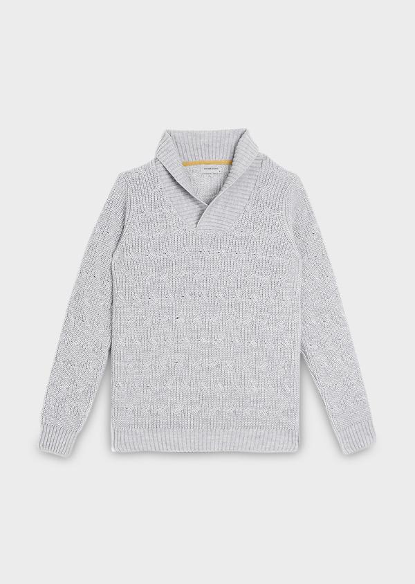 Pull en laine Mérinos col châle uni gris - Father and Sons 30817