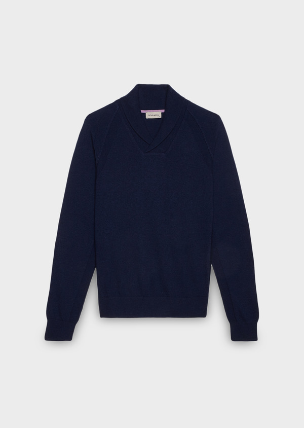 Pull en laine col châle uni violet - Father and Sons 27046