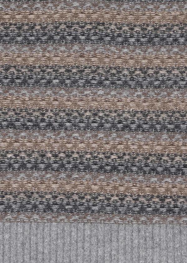 Pull en laine mélangée col rond à motif fantaisie jacquard bleu - Father and Sons 30986