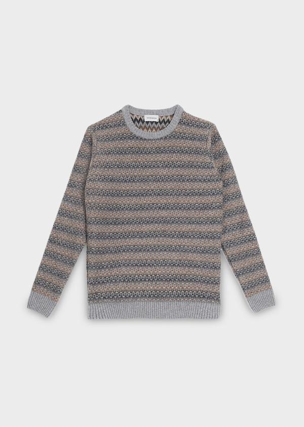 Pull en laine mélangée col rond à motif fantaisie jacquard bleu - Father and Sons 30985