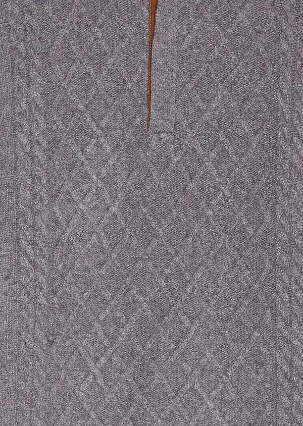 Pull en laine mélangée col montant zippé gris foncé uni - Father and Sons 30923